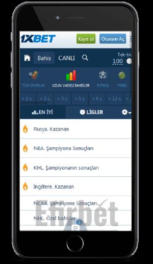 iOS (iPhone ve iPad cihazları) için 1xbet uygulaması